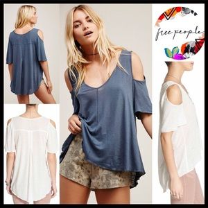 FREE PEOPLE IVORY TUNIC Cold-Shoulder TEE